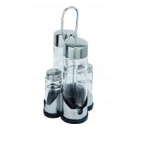 Menage 4 tlg., Essig + Oel / Salz + Pfeffer, Unterteil Kunststoff