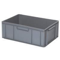 Euro-Stapelbehälter 600x400 mm, 2 Griffleisten, grau - 220 mm | Lager & Transport/Lagerausstattung/Lager- & Transportbehälter