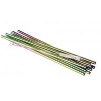 APS Trinkhalme Edelstahl SMALL - Regenbogen 10 Stück inklusive einer Reinigungsbürste