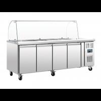 Polar Saladette 4 Türen mit Glasaufsatz | Kühltechnik/Kühltheken/Salatbars