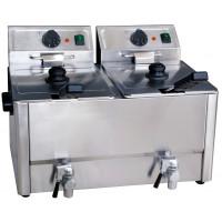 Elektro-Doppel-Fritteuse ECO 10+10 Liter mit Ablasshahn
