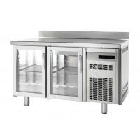 Kühltisch Premium 2/0 mit Aufkantung und Glastüren - EN 600x400