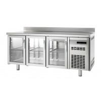 Kühltisch Premium 3/0 mit Aufkantung und Glastüren - EN 600 x 400