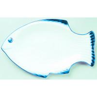 Fischteller 36 cm - weiss/blau