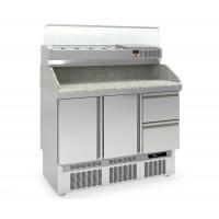 Pizzatisch PROFI 2/2 Mini mit Kühlaufsatz - Plus | Kühltechnik/Kühltische/Pizza-Kühltische