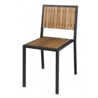 Bolero Stahl- und Akazienholzstühle ohne Armlehnen (4 Stück)