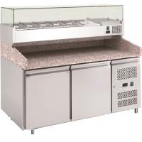 Pizzatisch ECO 2/0 mit Kühlaufsatz 7x GN 1/4